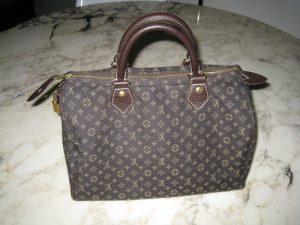 3e6d91d2bdb Il s agit du modèle Speedy de Louis Vuitton en mini lin. Un it-bag ultra  branché. Le modèle Speedy est un véritable must-have que toute fashion-girl  doit ...