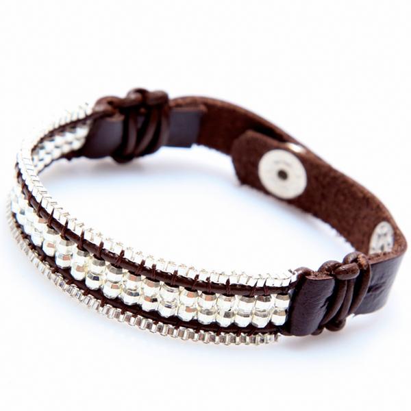 nakamol bracelet cuir et perles argent
