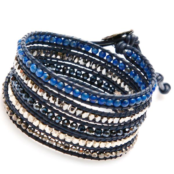 nakamol bracelet wrap perles bleu multi