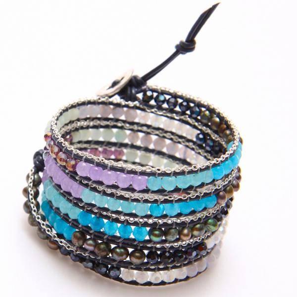 Nakamol bracelet Wrap perles multicolores