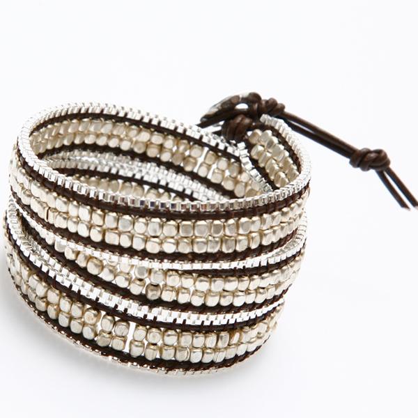 Nakamol Bracelet Wrap perles argent