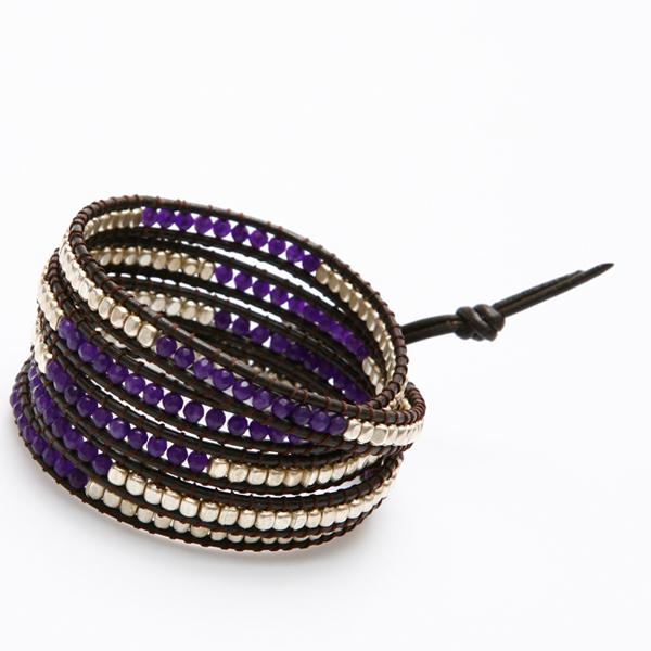 Nakamol Bracelet wrap perles violetes et argent