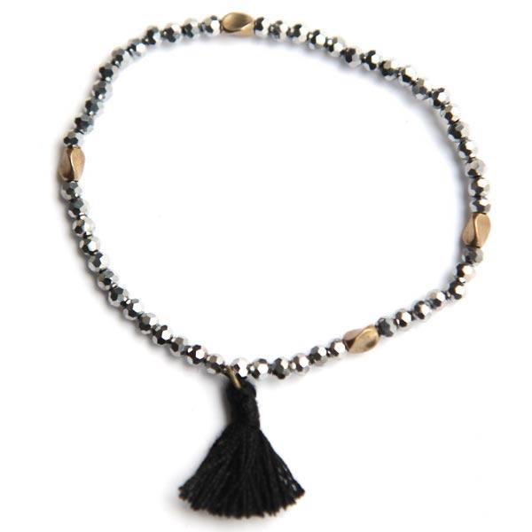 paloma-stella-bracelet-pompon-noir-perles-argente-dorees