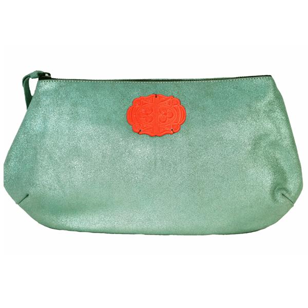sous-les-paves-pochette-Copacabana-cuir-cristal-vert-orange