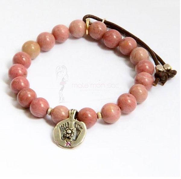 catherine-michiels-bracelet-stardust-rhodocrosite-rose-charm-feet-bouddha-et-saphir-rose