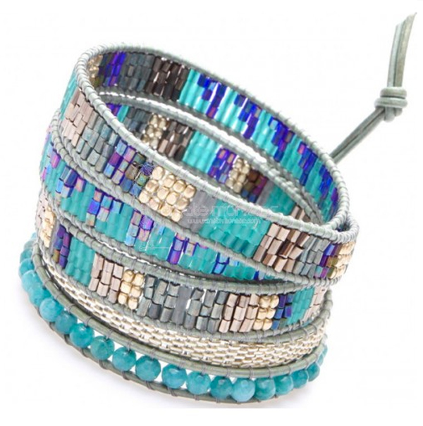 nakamol-bracelet-wrap-perles-turquoise-cuir-argent
