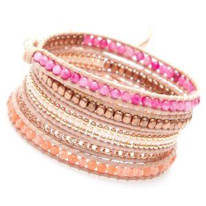 Bracelet Nakamol multi-tours perles roses, bronze et orangées