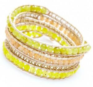 Bracelet Nakamol multi-tours perles jaunes et or