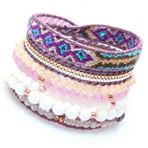 Bracelet Nakamol multi-tours perles blanches, violettes, et rose pâle et tissage brésilien