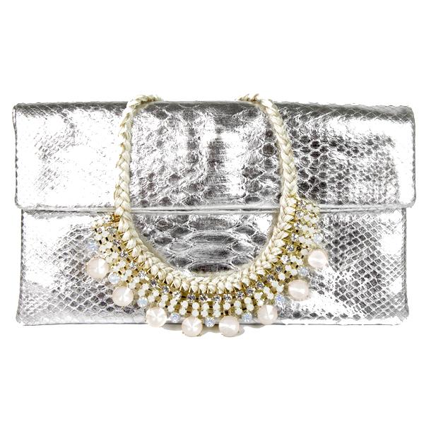 Box-Silver-Pochette-en-python-véritable-et-Collier-en-fil-de-soie-et-strass