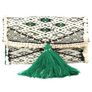 pochette-kilim-blanc-pompon-vert