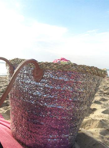 panier-plage-paillettes-argent-plage