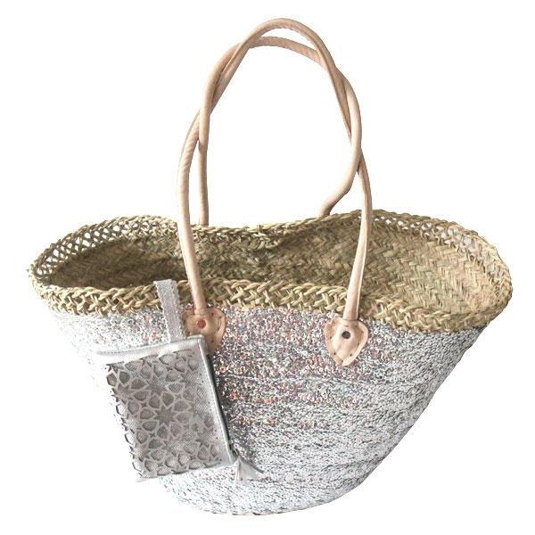 panier de plage tress paillettes argent un cabas de plage adorable le mag de mate mon sac. Black Bedroom Furniture Sets. Home Design Ideas