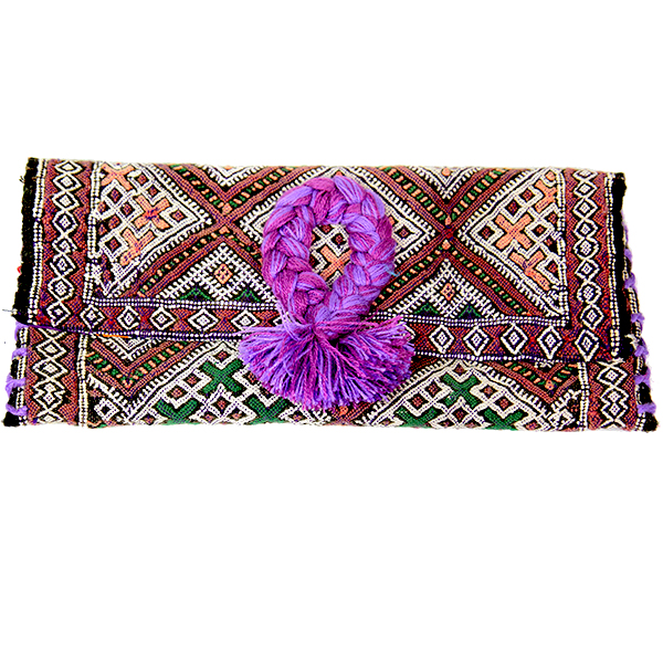 pochette-kilim-pompon-tresse-mauve-lilas