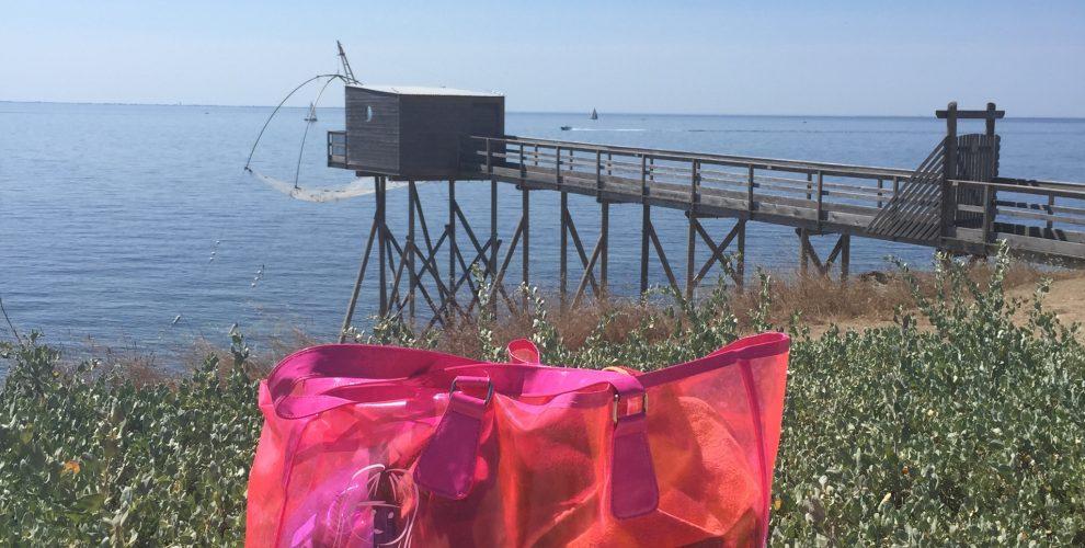 cabas de plage rose fluo transparent