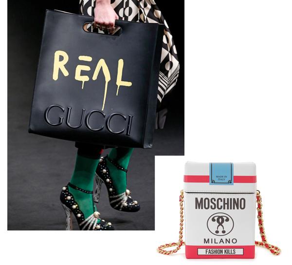 Le sac tagué de Gucci, le sac paquet de cigarette Moschino