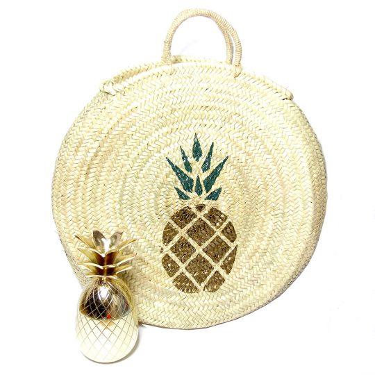 Panier de Plage Rond en osier peint - Ananas