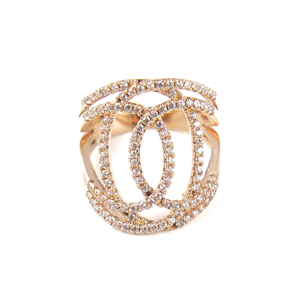 bague or rose strass