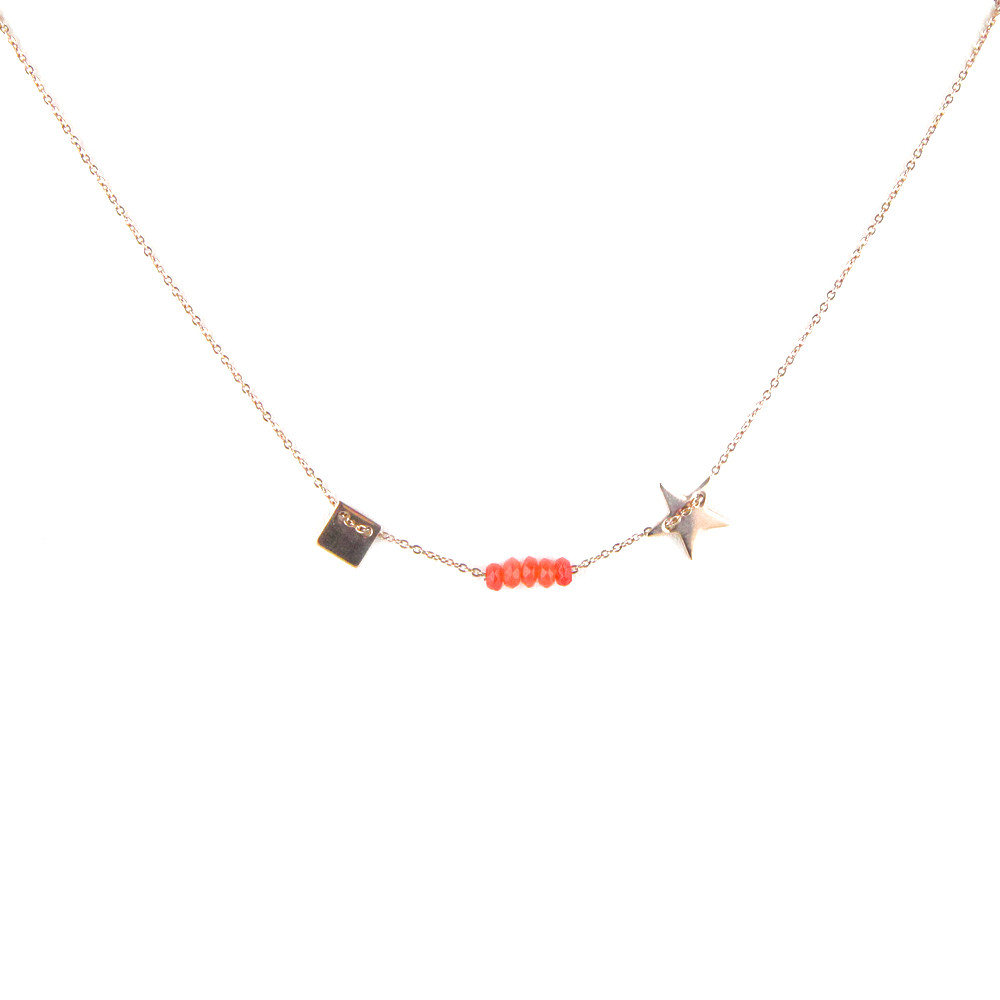 collier medaille or rose etoile carre pierres oranges