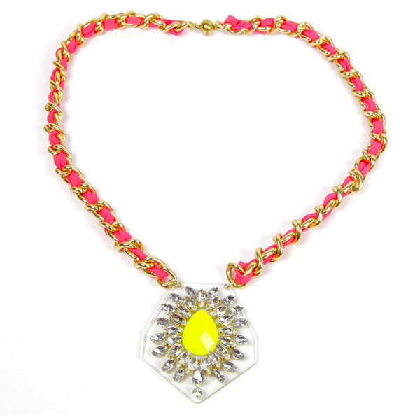 zayn collier yellow one strass plexiglas jaune