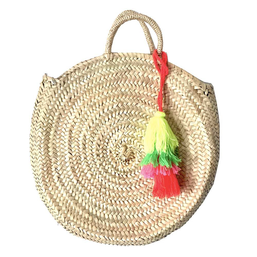 panier rond osier plage pompons rose fluo maud fourier
