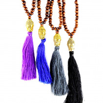 Collier Bouddha perles bois brun Buddha or pompon