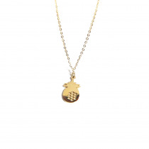 collier ananas plaque or