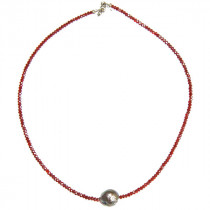 Catherine Michiels Collier Perles Cristal rouge Perle eau douce