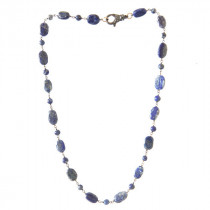 Collier Lapis Lazuli et fermoir en argent et diamants