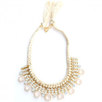 Collier Strass beige et rose