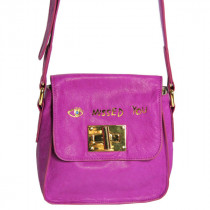 Paris House mini besace Missed You en cuir Fuchsia detail