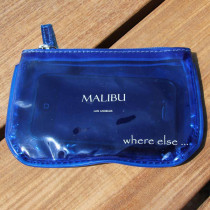 where else pochette plage vinyle transparent malibu bleu