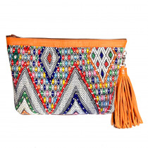 pochette saint germain kilim cuir maud fourier paris orange