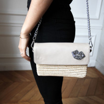 Sac Charlie raphia cuir rose pale Maud Fourier bandouliere