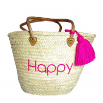 panier cabas plage brode happy rose fuchsia