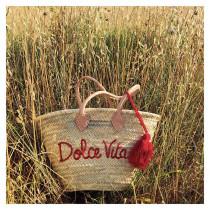 panier cabas plage brode dolce vita rouge
