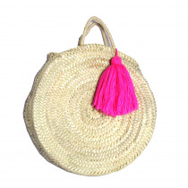 panier plage rond osier tresse pompon rose fluo