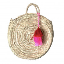 panier rond osier plage pompons rose fuchsia maud fourier