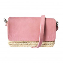 Sac Charlie raphia cuir rose pale Maud Fourier face