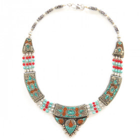 Collier Cornaline et Turquoise - triangle