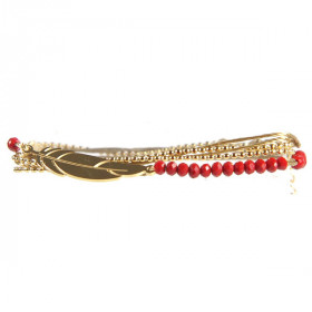 Bracelet Plume Or et perles rouges