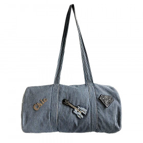 Sac Polochon Denim rayé personnalisable - Small