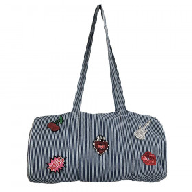 Sac Polochon Denim rayé personnalisable - Medium