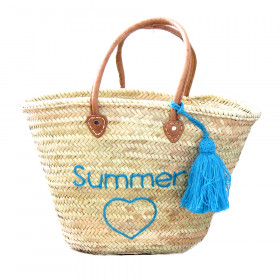 Panier Plage brodé Summer turquoise