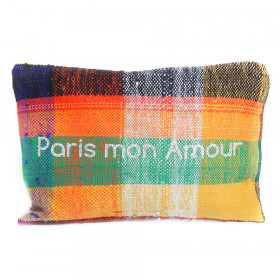 Pochette Paris mon Amour - carreaux multicolore